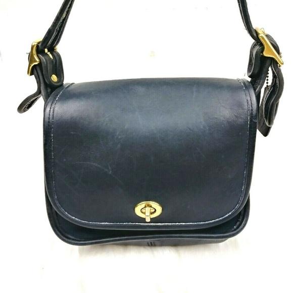 Coach Handbags - Vtg Coach Navy Legacy Crossbody Saddle Bag